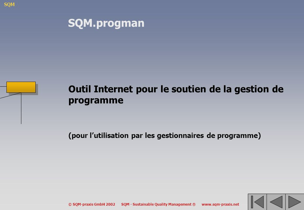 SQM © SQM-praxis GmbH 2002 SQM - Sustainable Quality Management ® www.sqm-praxis.net Outil Internet pour le soutien de la gestion de programme (pour lutilisation par les gestionnaires de programme) SQM.progman