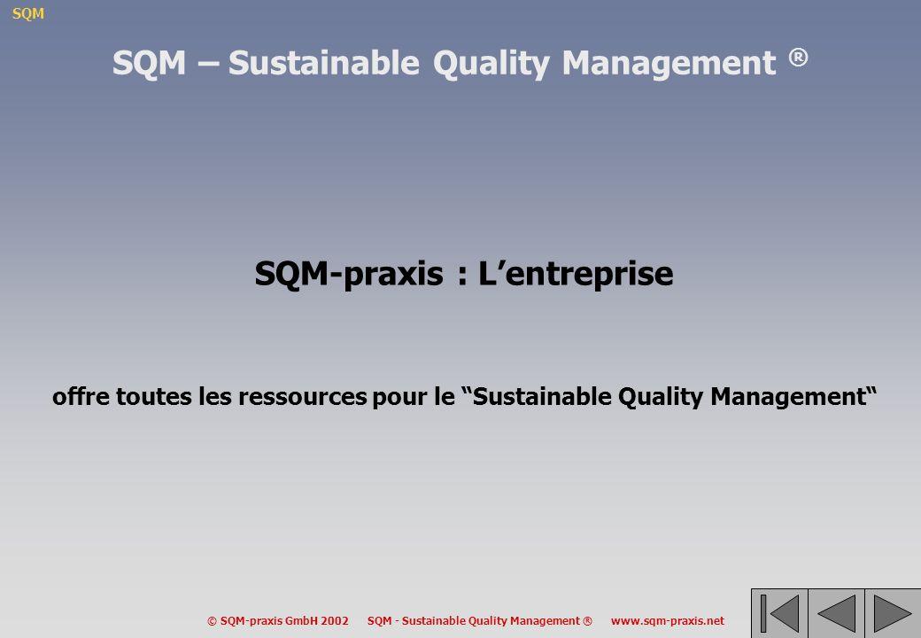 SQM © SQM-praxis GmbH 2002 SQM - Sustainable Quality Management ® www.sqm-praxis.net SQM-praxis : Lentreprise offre toutes les ressources pour le Sustainable Quality Management SQM – Sustainable Quality Management ®
