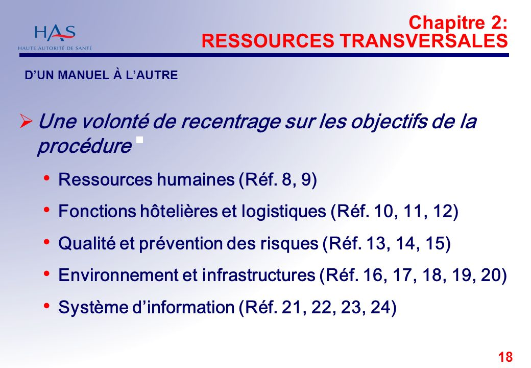 18 Chapitre 2: RESSOURCES TRANSVERSALES Une volonté de recentrage sur les objectifs de la procédure Ressources humaines (Réf. 8, 9) Fonctions hôtelièr