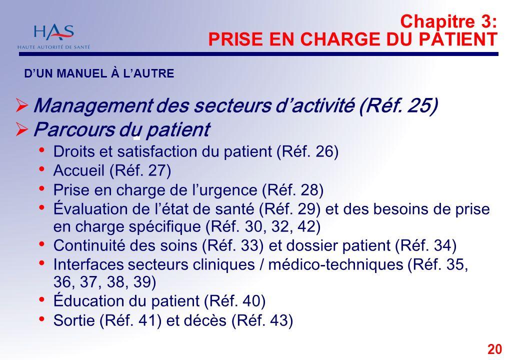 20 Chapitre 3: PRISE EN CHARGE DU PATIENT Management des secteurs dactivité (Réf. 25) Parcours du patient Droits et satisfaction du patient (Réf. 26)