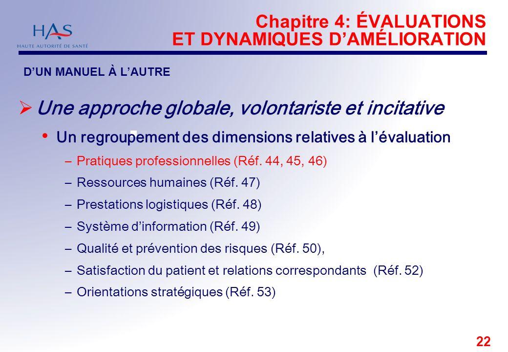 22 Chapitre 4: ÉVALUATIONS ET DYNAMIQUES DAMÉLIORATION Une approche globale, volontariste et incitative Un regroupement des dimensions relatives à lév