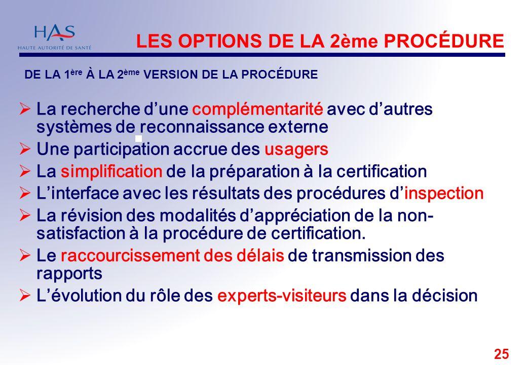 25 LES OPTIONS DE LA 2ème PROCÉDURE La recherche dune complémentarité avec dautres systèmes de reconnaissance externe Une participation accrue des usa