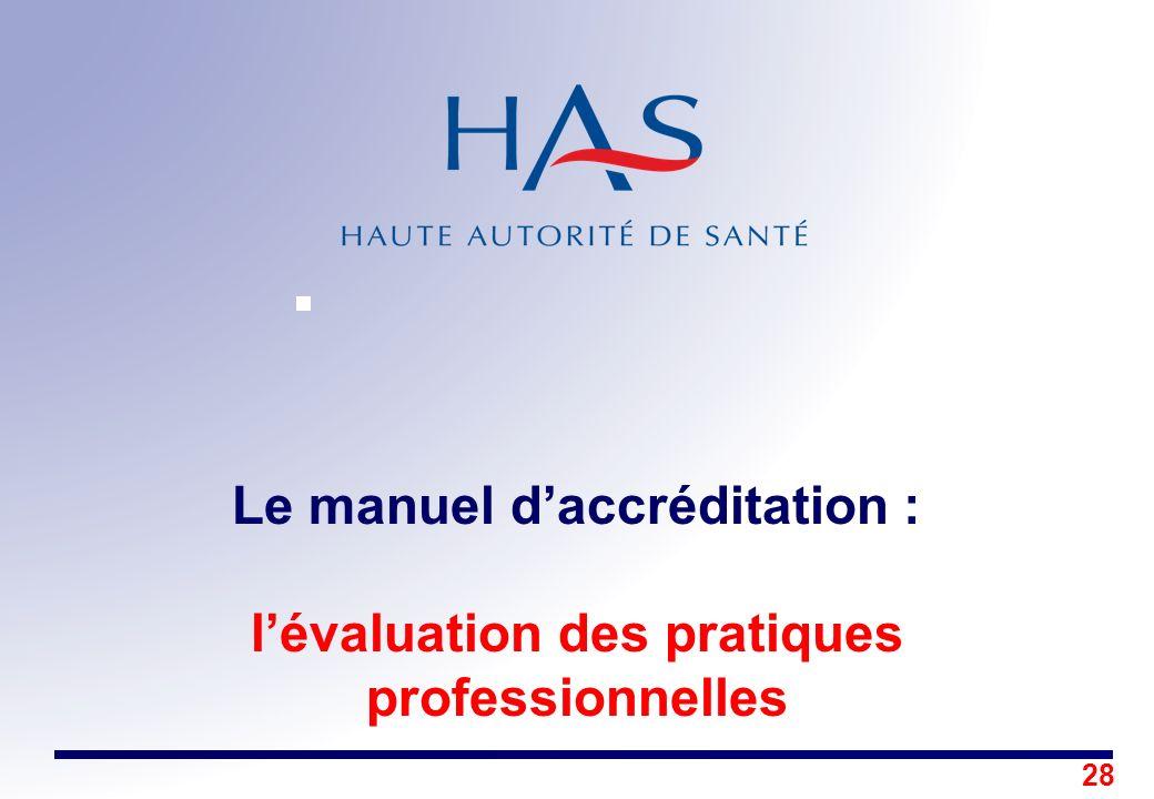28 Le manuel daccréditation : lévaluation des pratiques professionnelles