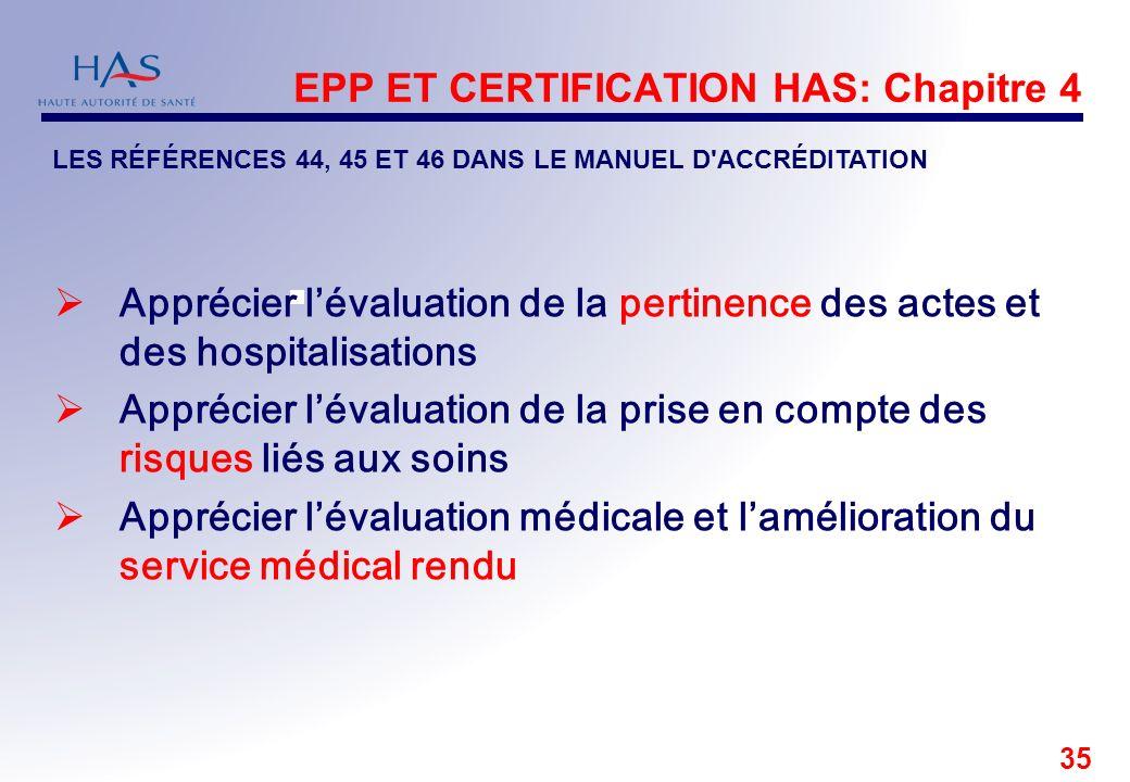 35 EPP ET CERTIFICATION HAS: Chapitre 4 Apprécier lévaluation de la pertinence des actes et des hospitalisations Apprécier lévaluation de la prise en