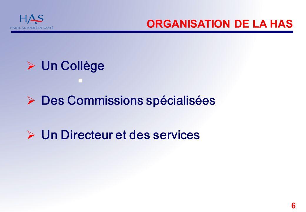 6 Un Collège Des Commissions spécialisées Un Directeur et des services ORGANISATION DE LA HAS