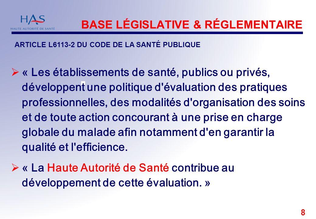 8 BASE LÉGISLATIVE & RÉGLEMENTAIRE « Les établissements de santé, publics ou privés, développent une politique d'évaluation des pratiques professionne