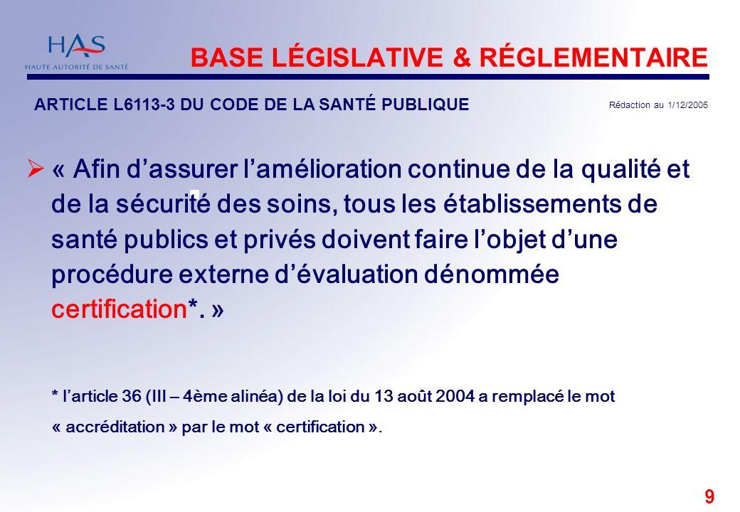 9 BASE LÉGISLATIVE & RÉGLEMENTAIRE ARTICLE L6113-3 DU CODE DE LA SANTÉ PUBLIQUE Rédaction au 1/12/2005 « Afin dassurer lamélioration continue de la qu