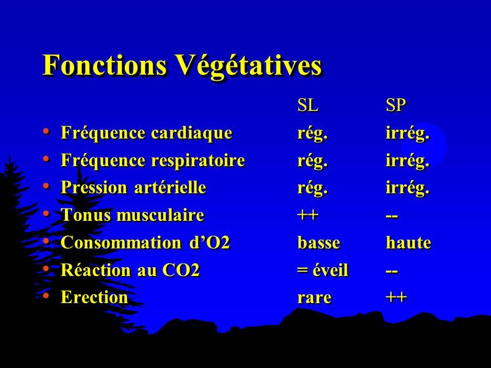 Fonctions Végétatives SLSP Fréquence cardiaque rég.irrég. Fréquence respiratoire rég.irrég. Pression artérielle rég.irrég. Tonus musculaire ++-- Conso