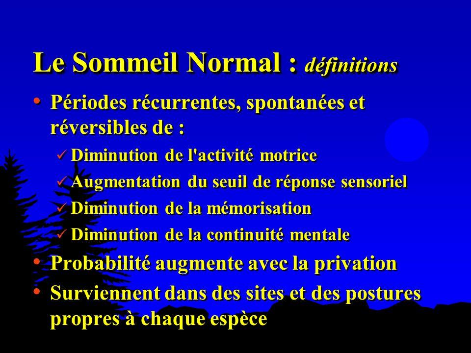 Le Sommeil Normal : définitions Périodes récurrentes, spontanées et réversibles de : Diminution de l'activité motrice Augmentation du seuil de réponse