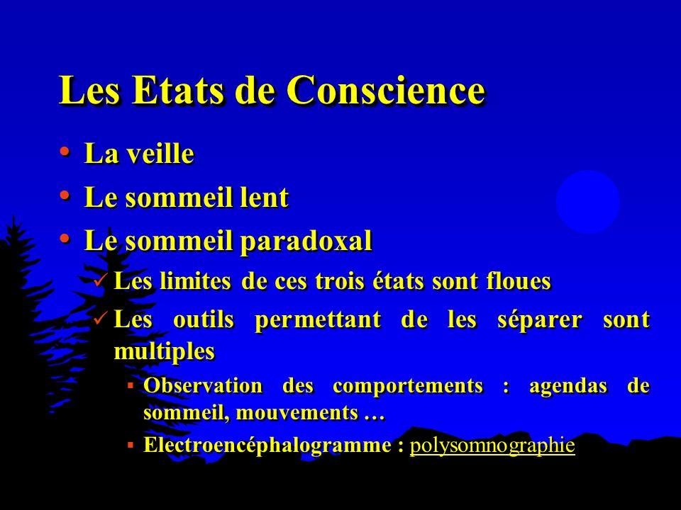 Les Etats de Conscience La veille Le sommeil lent Le sommeil paradoxal Les limites de ces trois états sont floues Les outils permettant de les séparer