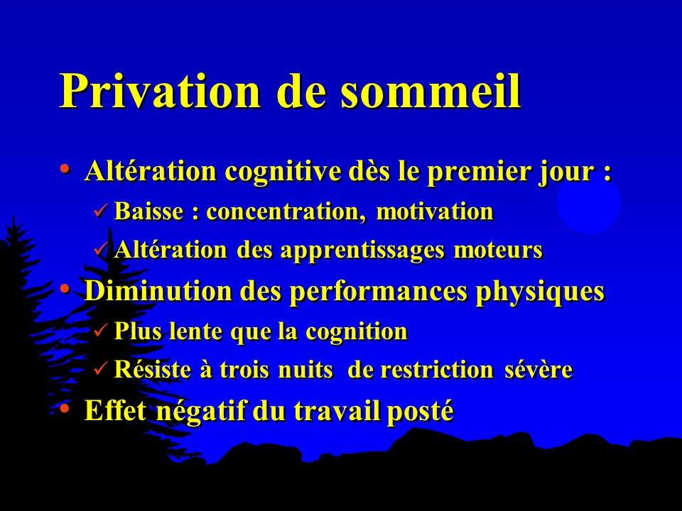 Privation de sommeil Altération cognitive dès le premier jour : Baisse : concentration, motivation Altération des apprentissages moteurs Diminution de