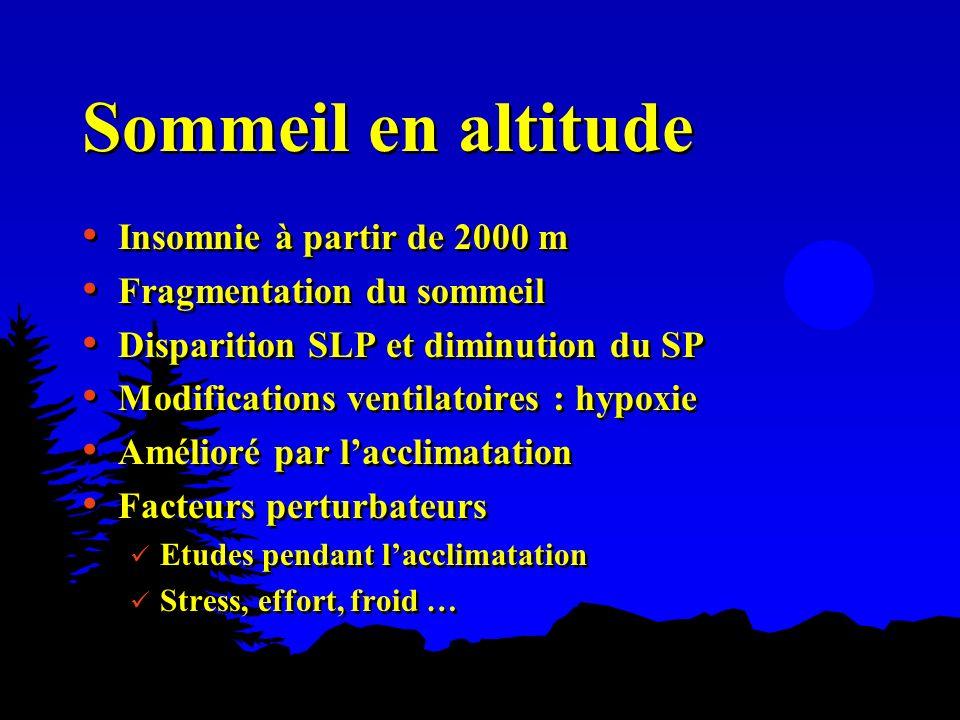 Sommeil en altitude Insomnie à partir de 2000 m Fragmentation du sommeil Disparition SLP et diminution du SP Modifications ventilatoires : hypoxie Amé