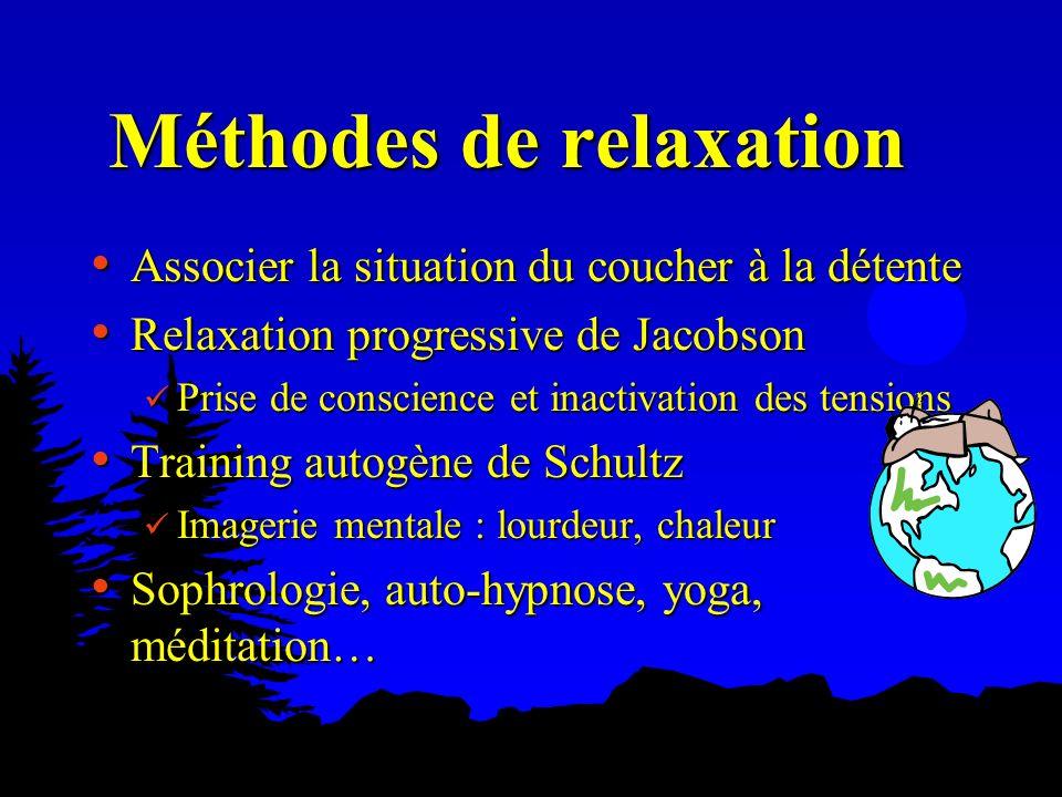 Méthodes de relaxation Associer la situation du coucher à la détente Associer la situation du coucher à la détente Relaxation progressive de Jacobson