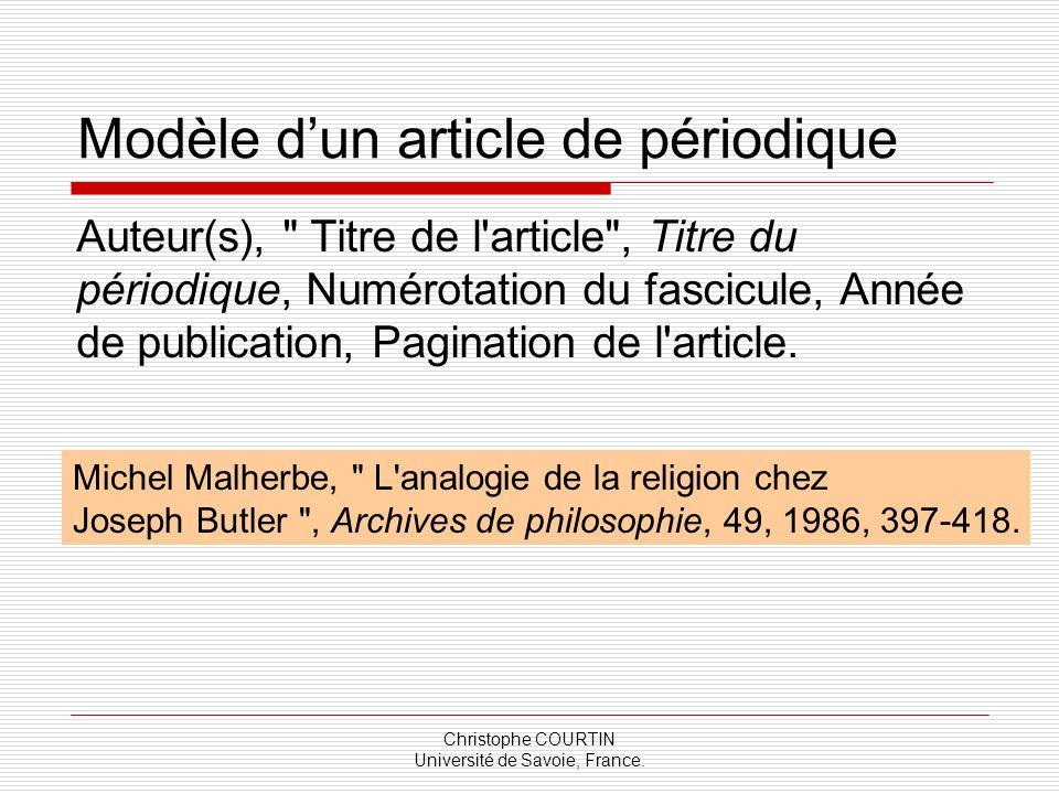 Christophe COURTIN Université de Savoie, France. Modèle dun article de périodique Auteur(s),