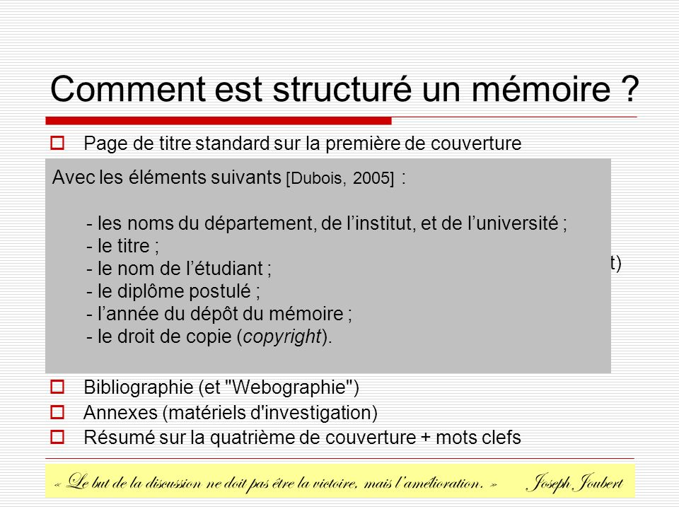 Christophe COURTIN Université de Savoie, France. Comment est structuré un mémoire ? Page de titre standard sur la première de couverture Page vide pou