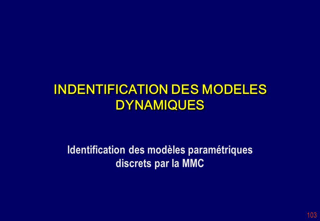 103 INDENTIFICATION DES MODELES DYNAMIQUES Identification des modèles paramétriques discrets par la MMC