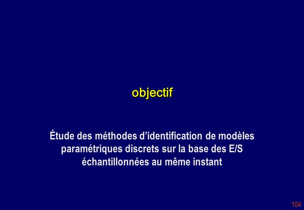 104 objectifobjectif Étude des méthodes didentification de modèles paramétriques discrets sur la base des E/S échantillonnées au même instant