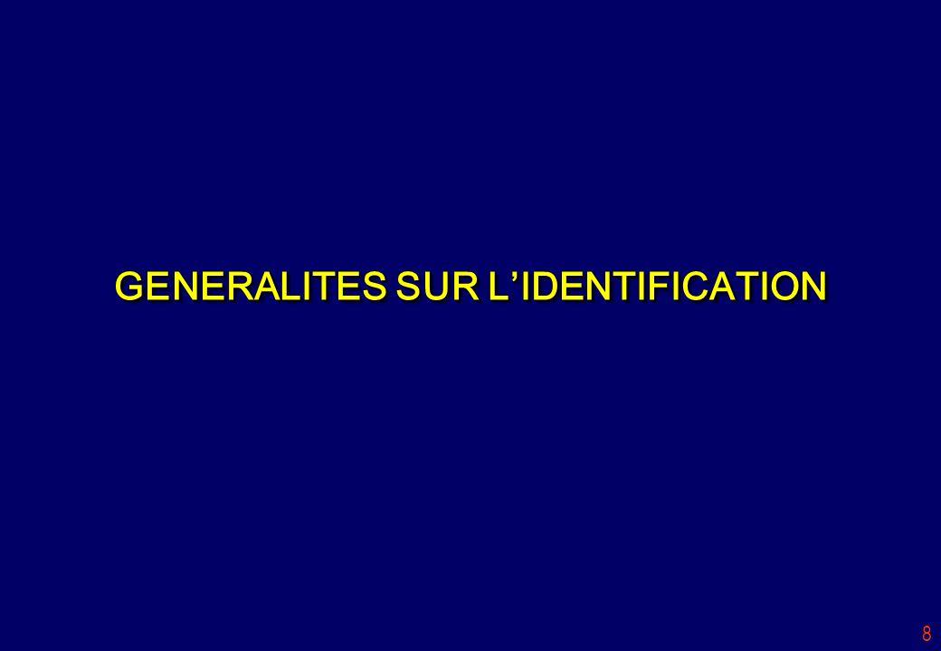 8 GENERALITES SUR LIDENTIFICATION