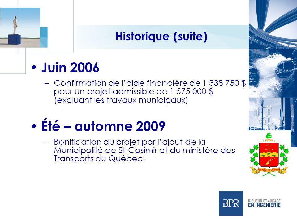 Historique (suite) Juin 2006 –Confirmation de laide financière de 1 338 750 $, pour un projet admissible de 1 575 000 $ (excluant les travaux municipa