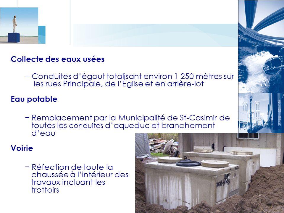Collecte des eaux usées Conduites dégout totalisant environ 1 250 mètres sur les rues Principale, de lÉglise et en arrière-lot Eau potable Remplacemen
