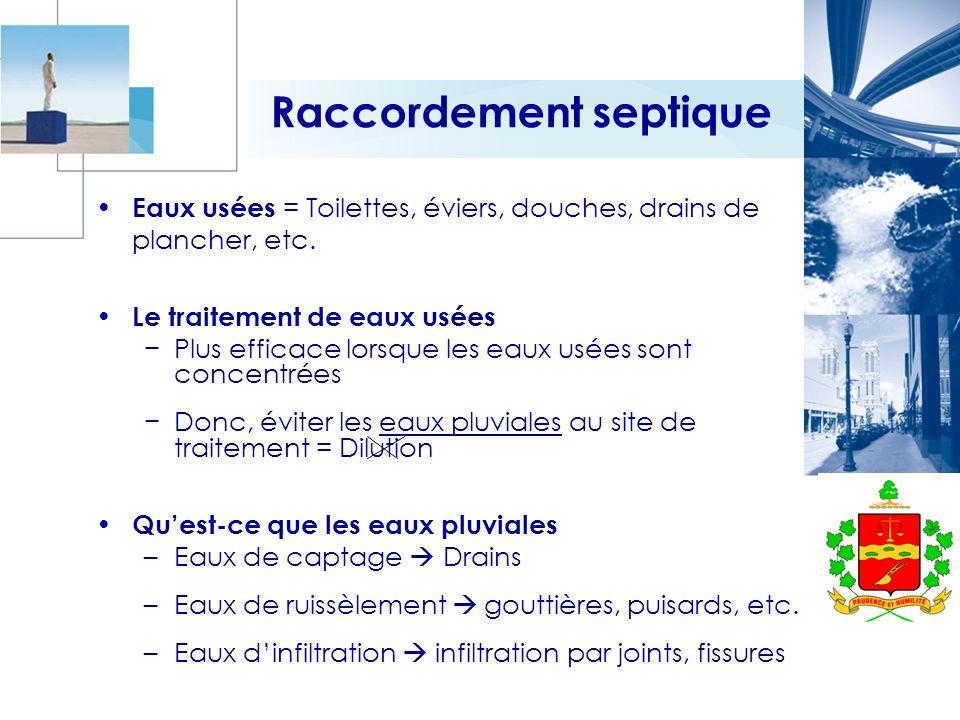 Raccordement septique Eaux usées = Toilettes, éviers, douches, drains de plancher, etc. Le traitement de eaux usées Plus efficace lorsque les eaux usé