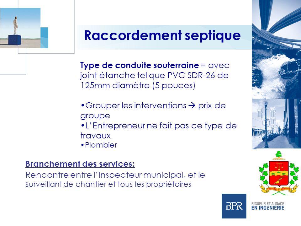 Raccordement septique Type de conduite souterraine = avec joint étanche tel que PVC SDR-26 de 125mm diamètre (5 pouces) Grouper les interventions prix