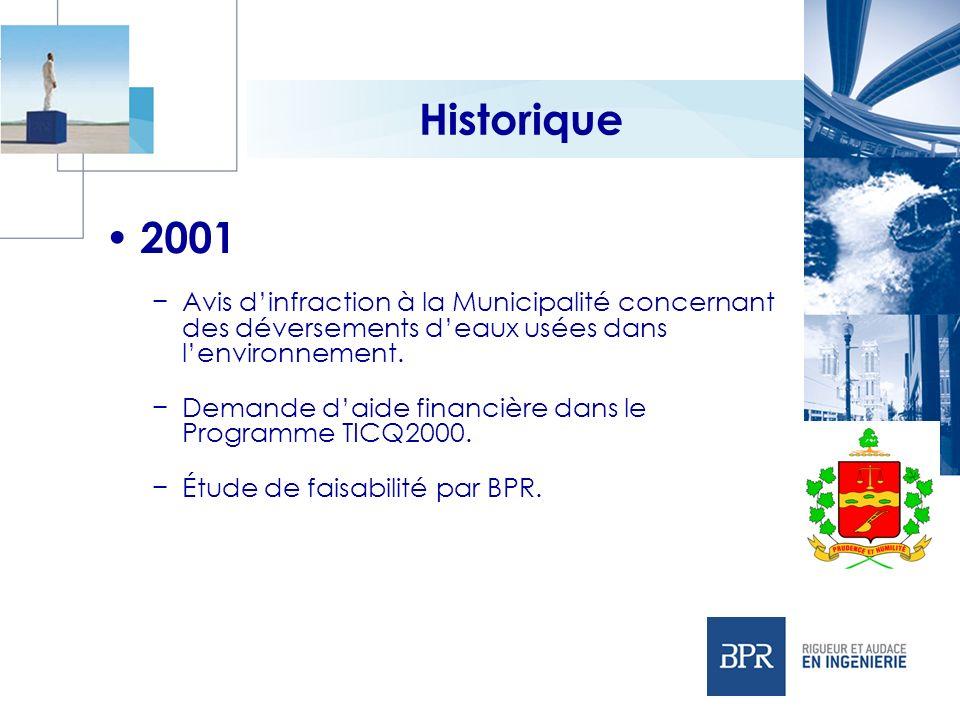 Historique 2001 Avis dinfraction à la Municipalité concernant des déversements deaux usées dans lenvironnement. Demande daide financière dans le Progr
