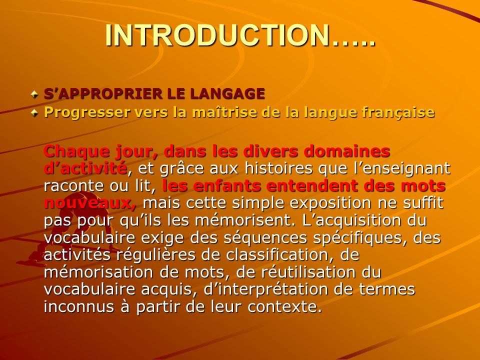 INTRODUCTION….. SAPPROPRIER LE LANGAGE Progresser vers la maîtrise de la langue française Chaque jour, dans les divers domaines dactivité, et grâce au