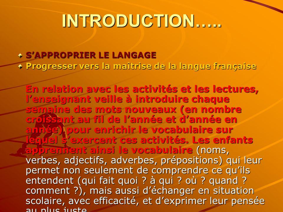 INTRODUCTION….. SAPPROPRIER LE LANGAGE Progresser vers la maîtrise de la langue française En relation avec les activités et les lectures, lenseignant