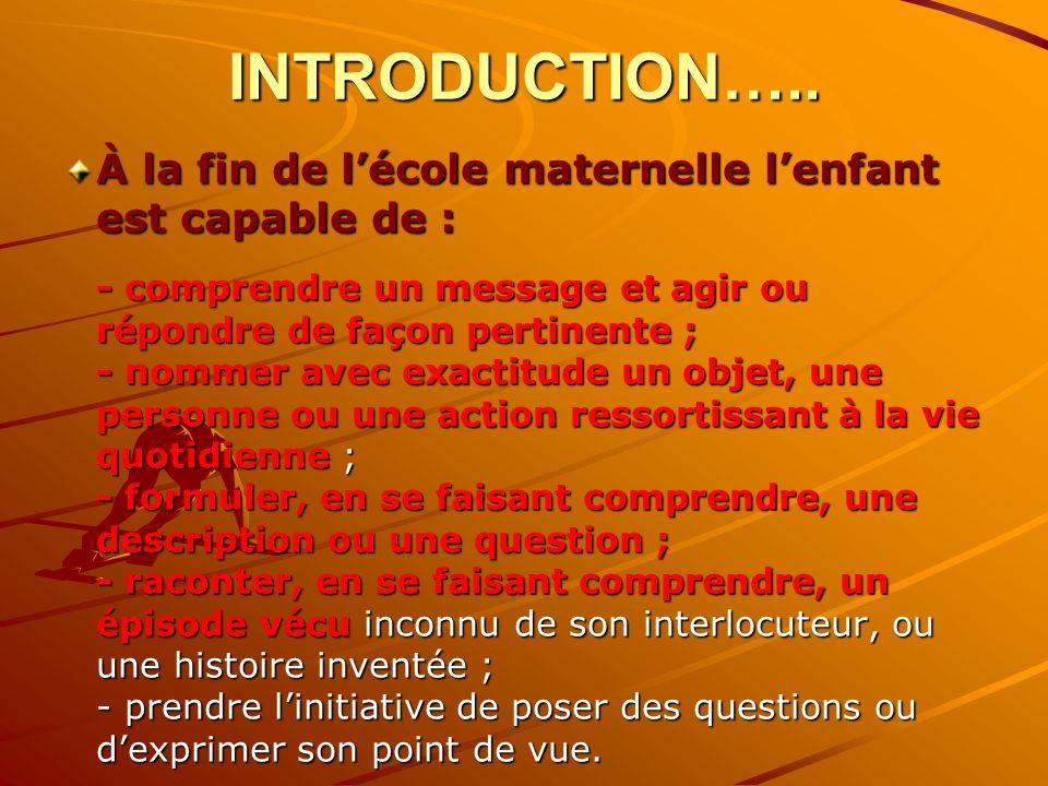 INTRODUCTION….. À la fin de lécole maternelle lenfant est capable de : - comprendre un message et agir ou répondre de façon pertinente ; - nommer avec