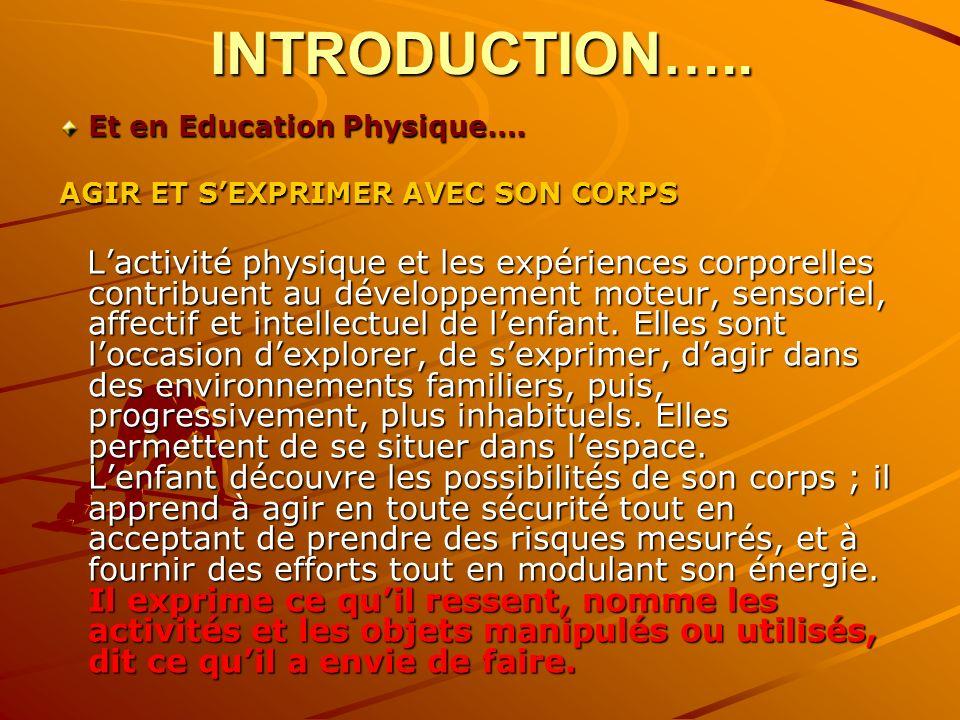INTRODUCTION….. Et en Education Physique…. AGIR ET SEXPRIMER AVEC SON CORPS Lactivité physique et les expériences corporelles contribuent au développe