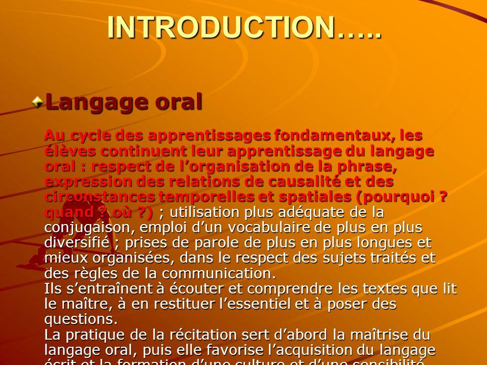 INTRODUCTION….. Langage oral Au cycle des apprentissages fondamentaux, les élèves continuent leur apprentissage du langage oral : respect de lorganisa