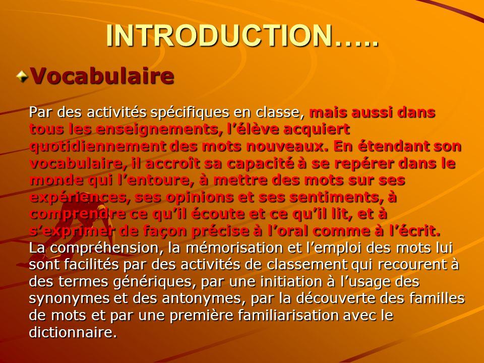 INTRODUCTION….. Vocabulaire Par des activités spécifiques en classe, mais aussi dans tous les enseignements, lélève acquiert quotidiennement des mots
