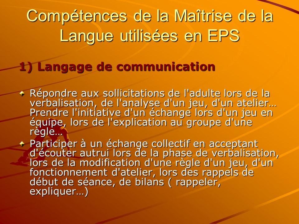Compétences de la Maîtrise de la Langue utilisées en EPS 1) Langage de communication Répondre aux sollicitations de l'adulte lors de la verbalisation,