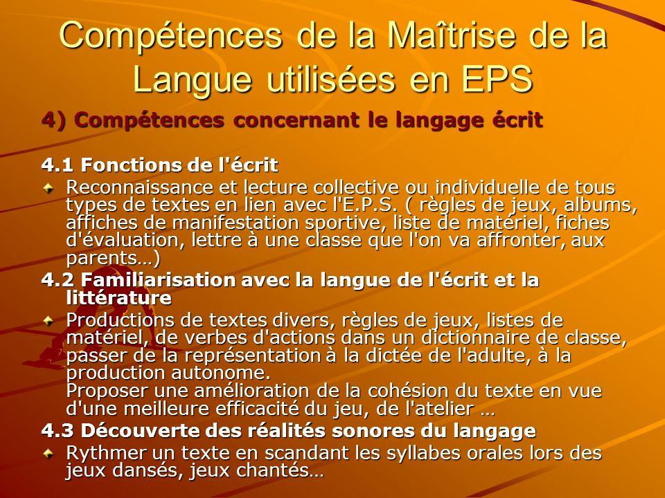 4) Compétences concernant le langage écrit 4.1 Fonctions de l'écrit Reconnaissance et lecture collective ou individuelle de tous types de textes en li