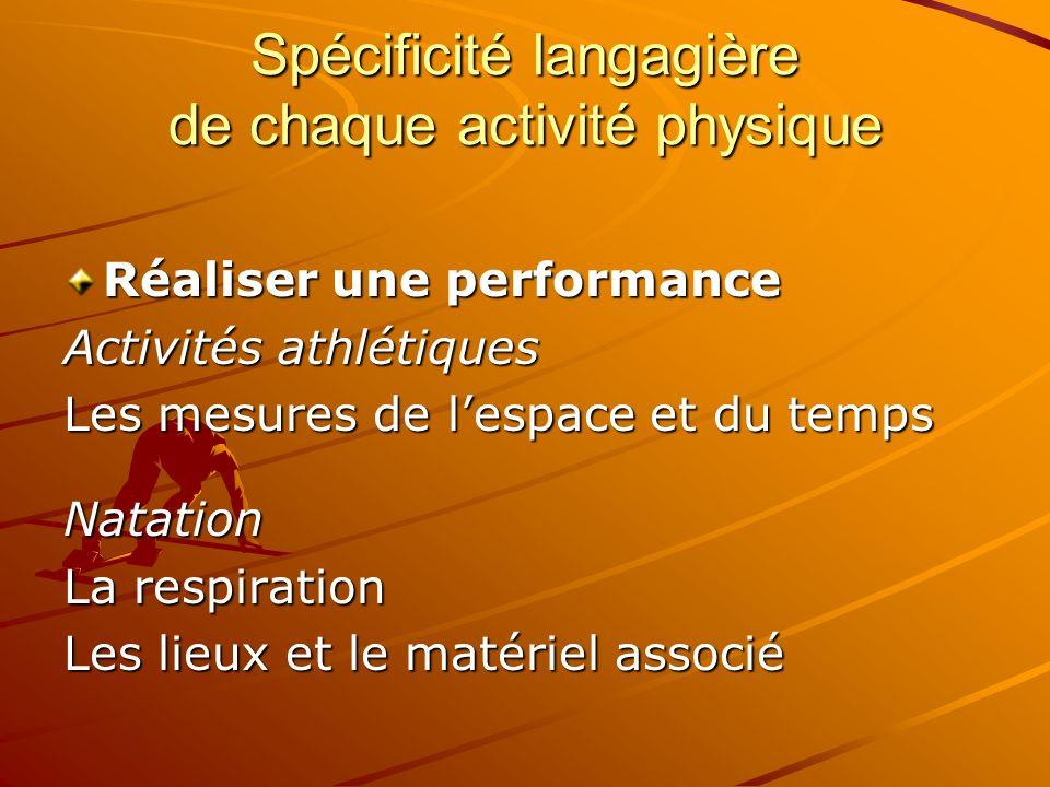 Spécificité langagière de chaque activité physique Réaliser une performance Activités athlétiques Les mesures de lespace et du temps Natation La respi