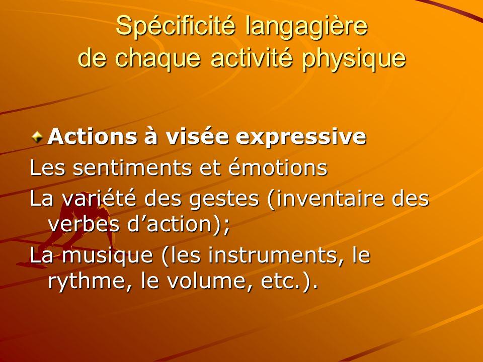 Spécificité langagière de chaque activité physique Actions à visée expressive Les sentiments et émotions La variété des gestes (inventaire des verbes