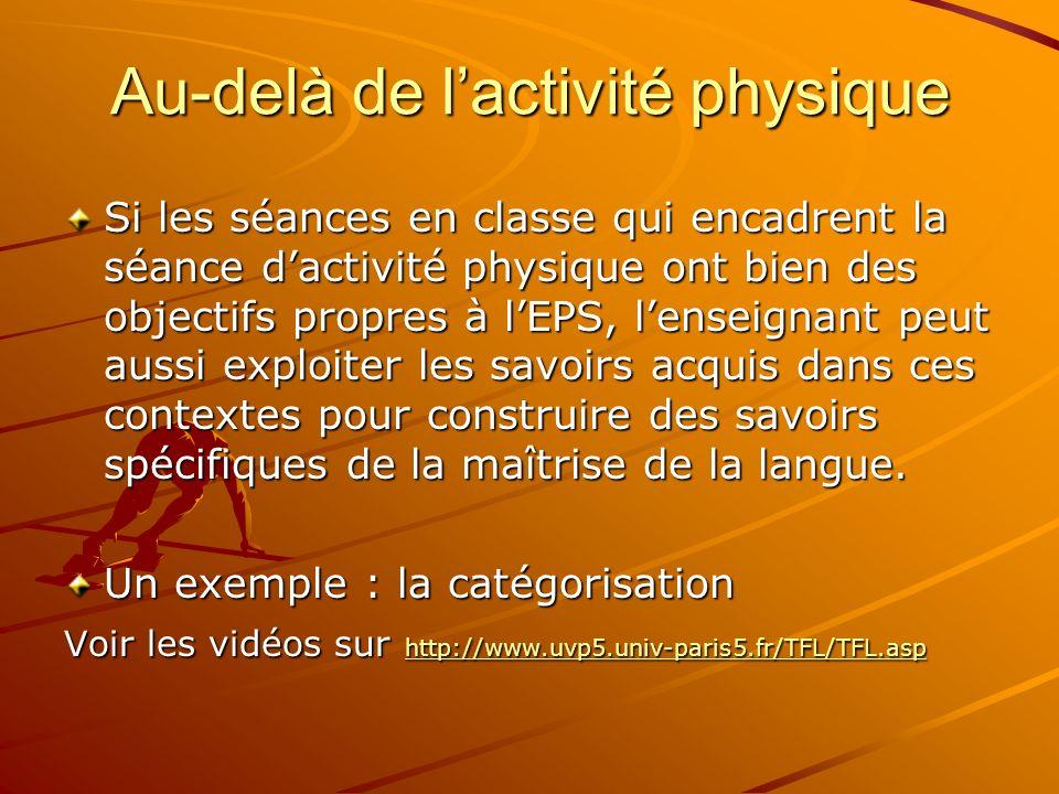 Au-delà de lactivité physique Si les séances en classe qui encadrent la séance dactivité physique ont bien des objectifs propres à lEPS, lenseignant p