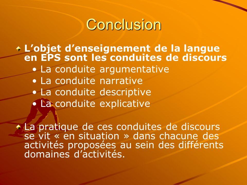 Conclusion Lobjet denseignement de la langue en EPS sont les conduites de discours La conduite argumentative La conduite narrative La conduite descrip