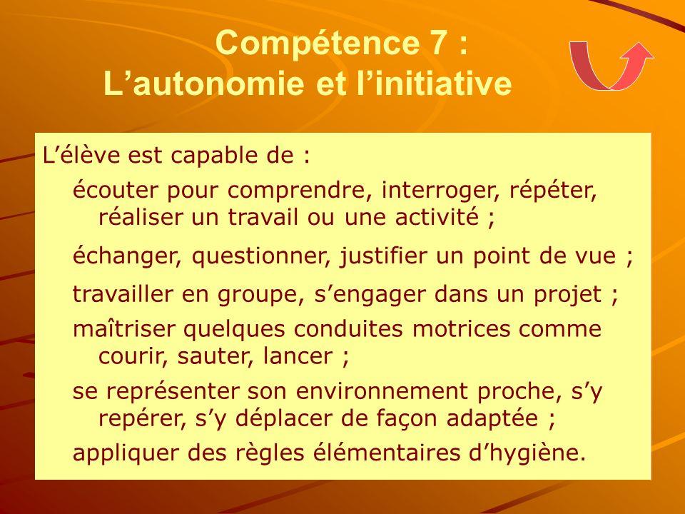 Compétence 7 : Lautonomie et linitiative Lélève est capable de : écouter pour comprendre, interroger, répéter, réaliser un travail ou une activité ; é