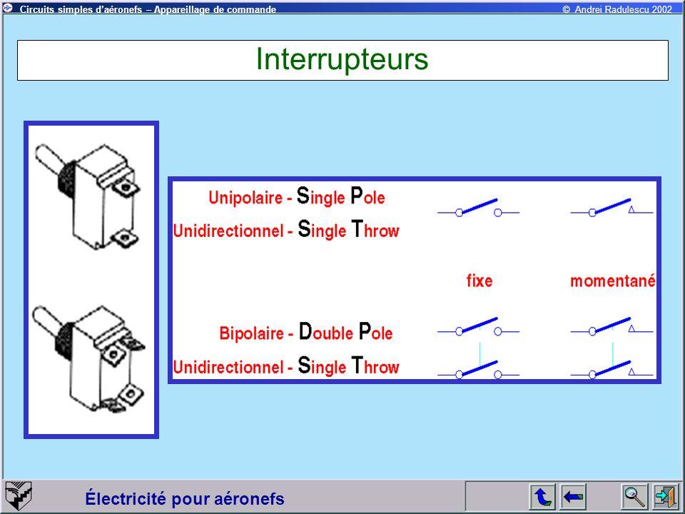 Électricité pour aéronefs © Andrei Radulescu 2002Circuits simples daéronefs – Appareillage de commande Interrupteurs