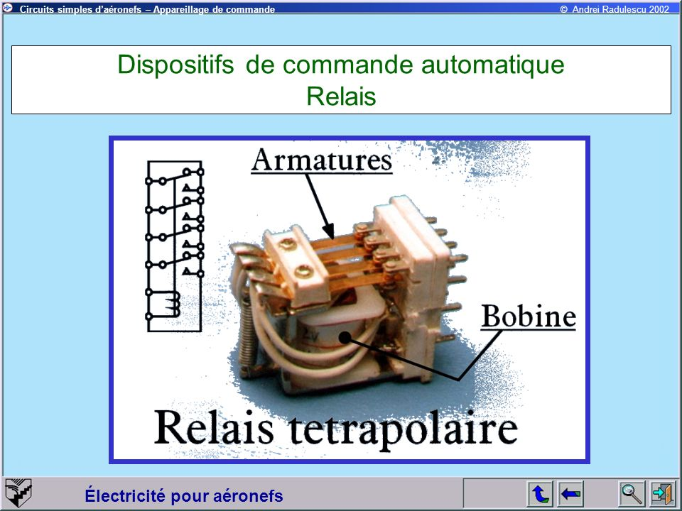 Électricité pour aéronefs © Andrei Radulescu 2002Circuits simples daéronefs – Appareillage de commande Dispositifs de commande automatique Relais