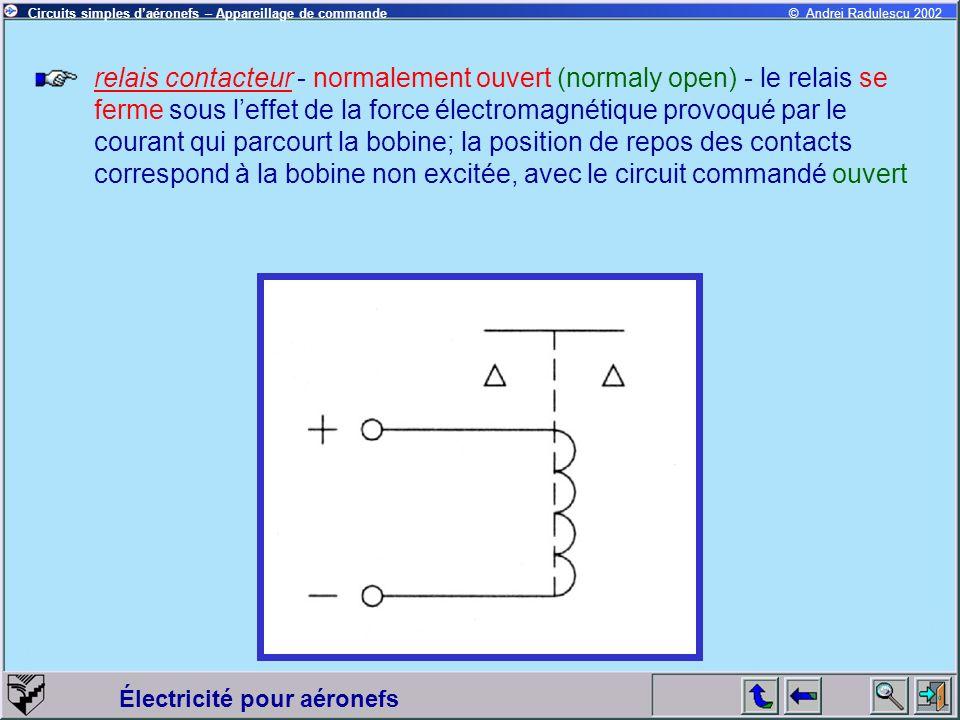Électricité pour aéronefs © Andrei Radulescu 2002Circuits simples daéronefs – Appareillage de commande relais contacteur - normalement ouvert (normaly