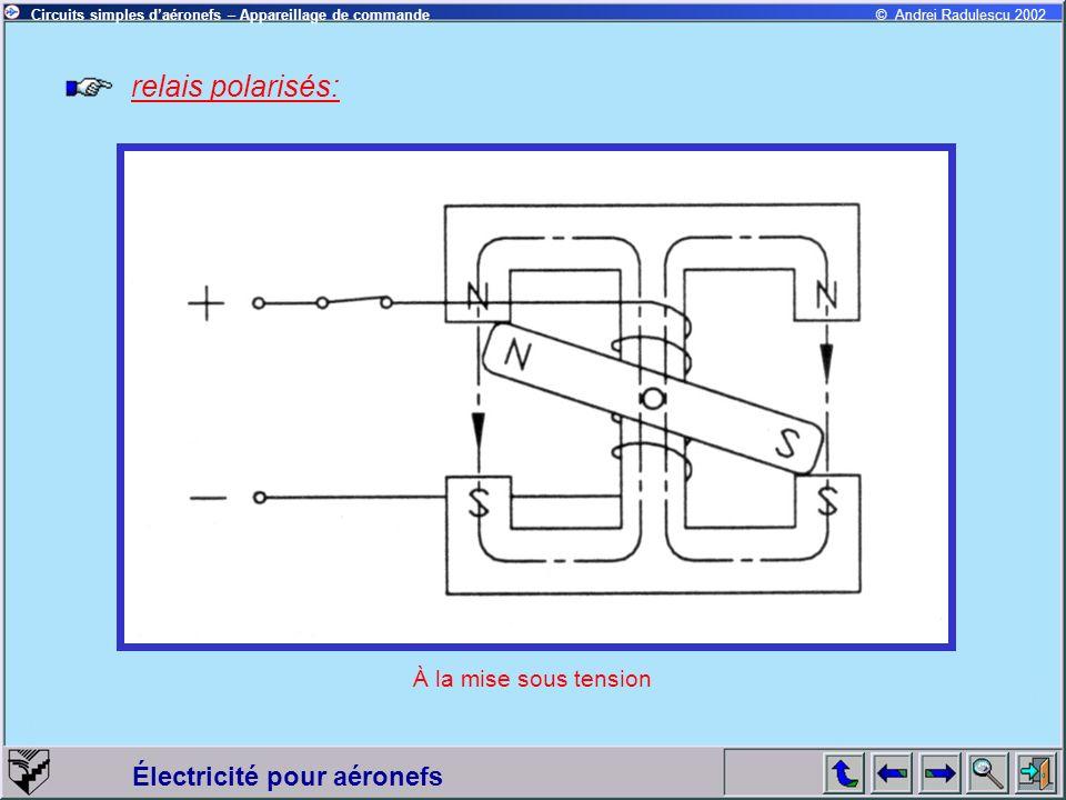 Électricité pour aéronefs © Andrei Radulescu 2002Circuits simples daéronefs – Appareillage de commande relais polarisés: À la mise sous tension