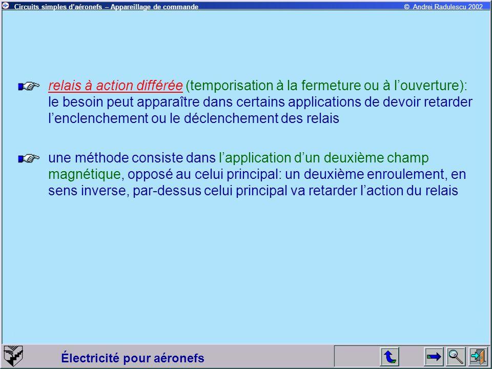Électricité pour aéronefs © Andrei Radulescu 2002Circuits simples daéronefs – Appareillage de commande relais à action différée (temporisation à la fe