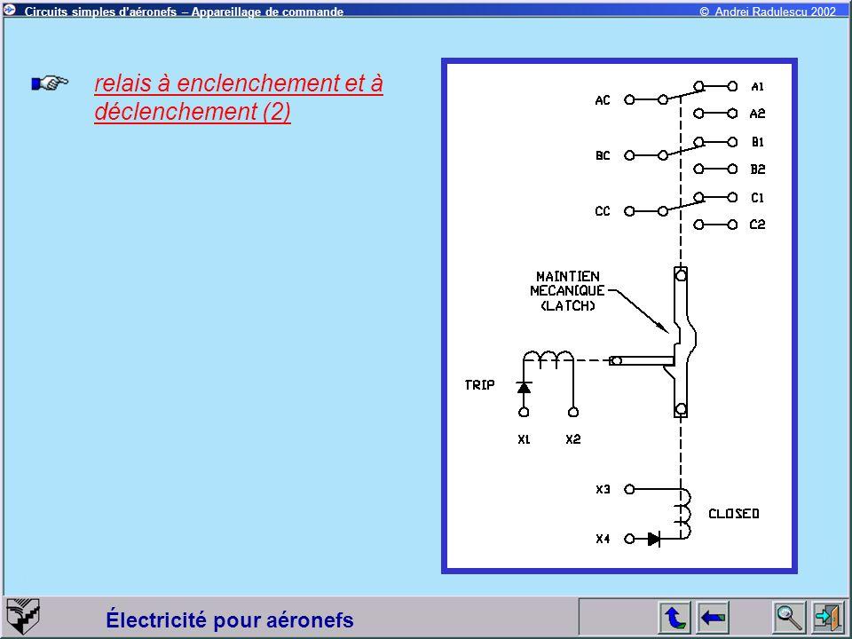 Électricité pour aéronefs © Andrei Radulescu 2002Circuits simples daéronefs – Appareillage de commande relais à enclenchement et à déclenchement (2)