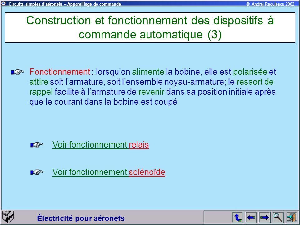 Électricité pour aéronefs © Andrei Radulescu 2002Circuits simples daéronefs – Appareillage de commande Construction et fonctionnement des dispositifs