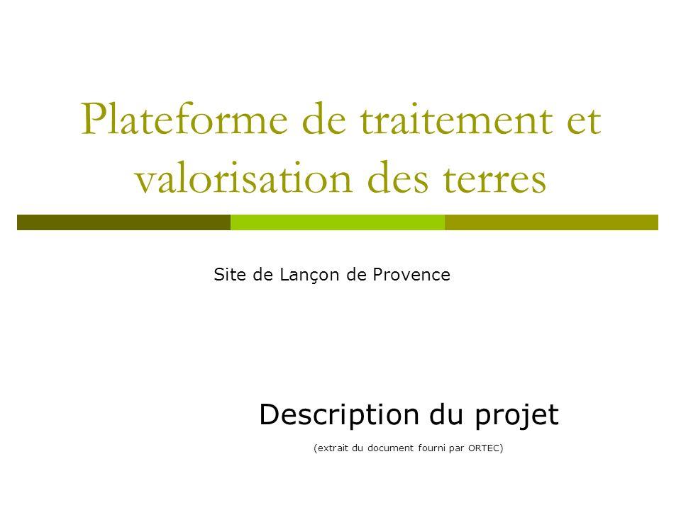 Plateforme de traitement et valorisation des terres Description du projet (extrait du document fourni par ORTEC) Site de Lançon de Provence