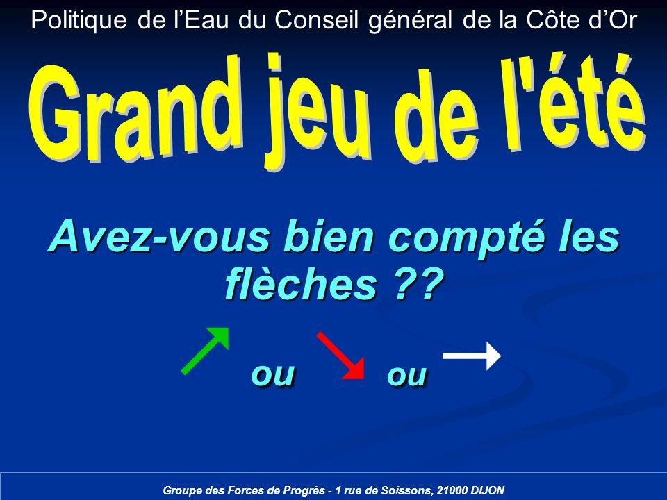 Politique de lEau du Conseil général de la Côte dOr Groupe des Forces de Progrès - 1 rue de Soissons, 21000 DIJON Avez-vous bien compté les flèches ??