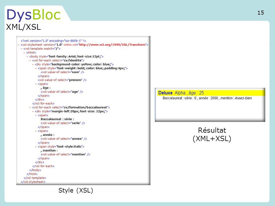 DysBloc XML/XSL Style (XSL) Résultat (XML+XSL) 15